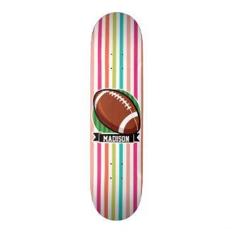 Football on Colorful Stripes Skate Board