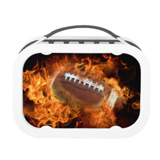 Football on fire lunch boxes