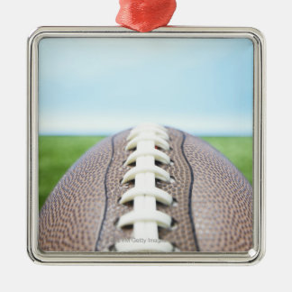 Football on Grass 2 Silver-Colored Square Decoration