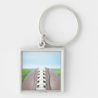 Football on Grass 2 Silver-Colored Square Key Ring