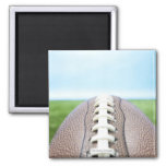 Football on Grass 2 Square Magnet