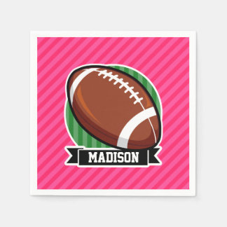Football on Green and Neon Pink Stripes Disposable Napkin