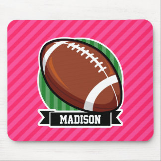 Football on Green and Neon Pink Stripes Mousepad