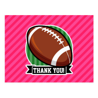 Football on Green and Neon Pink Stripes Post Card