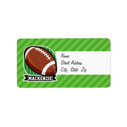 Football on Green Stripes Address Label