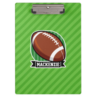 Football on Green Stripes Clipboard