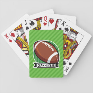 Football on Green Stripes Playing Cards