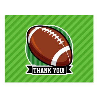 Football on Green Stripes Postcard