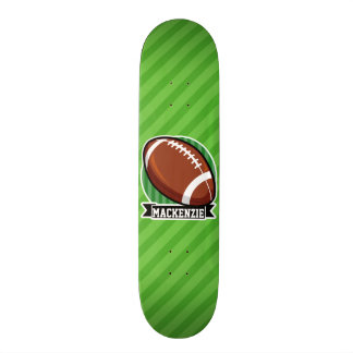 Football on Green Stripes Skateboard
