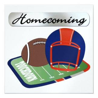 Football Orange and Blue Homecoming - SRF 13 Cm X 13 Cm Square Invitation Card