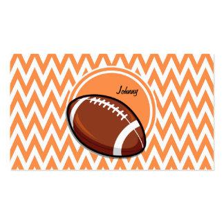 Football Orange and White Chevron Business Card