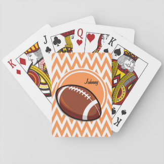 Football; Orange and White Chevron Playing Cards