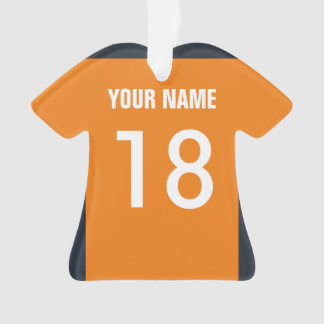 Football Orange, Navy & White Jersey Ornament