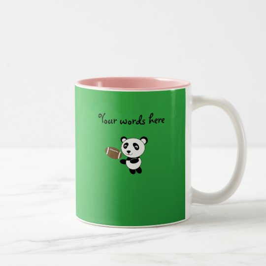 Football panda green Two-Tone coffee mug
