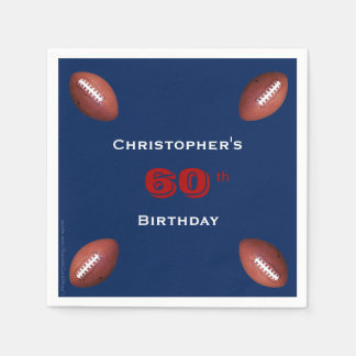 Football Paper Napkins, 60th Birthday Party Disposable Serviette