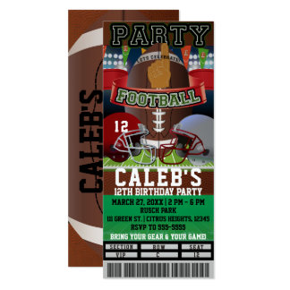 Football Party Birthday VIP Game Ticket Custom Card