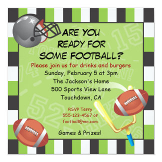 Football Party Invitation for adults or kids