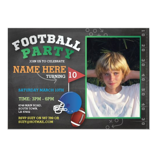 Football Party Invite Photo Birthday Invitatation