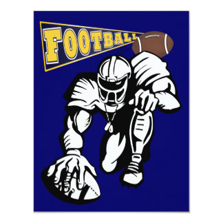Football Party Navy and Yellow  by SRF 11 Cm X 14 Cm Invitation Card