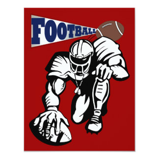 """Football Party Red, White, and Blue by SRF 4.25"""" X 5.5"""" Invitation Card"""