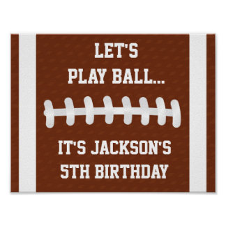 Football Party Sign Poster