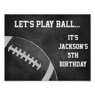 Football Party Sign with Chalkboard Background Poster