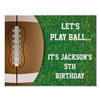Football Party Sign with Grass Background Poster