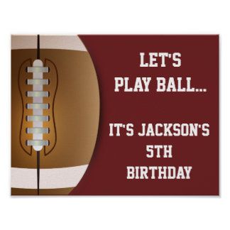 Football Party Sign with Solid Background Poster