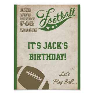 Football Party Sign with Vintage Background Poster