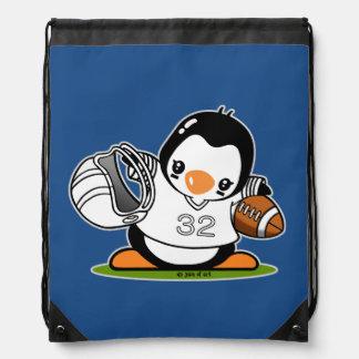 Football Penguin Drawstring Bag