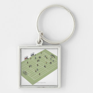 Football pitch key chain