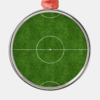 football pitch soccer footy grass design Silver-Colored round decoration