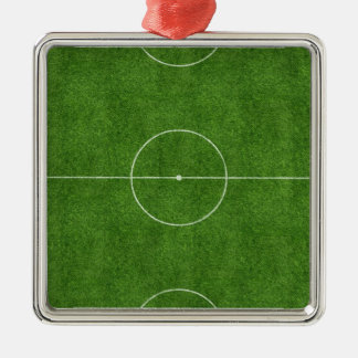 football pitch soccer footy grass design Silver-Colored square decoration