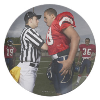 Football Player Arguing with Referee Plate