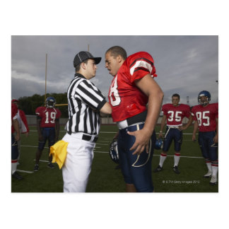 Football Player Arguing with Referee Postcard