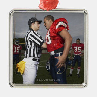 Football Player Arguing with Referee Silver-Colored Square Decoration