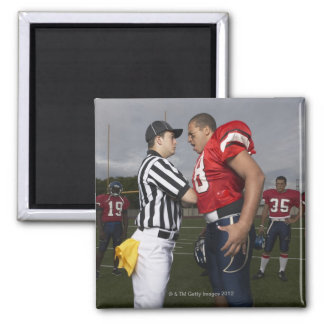 Football Player Arguing with Referee Square Magnet