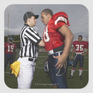 Football Player Arguing with Referee Square Sticker
