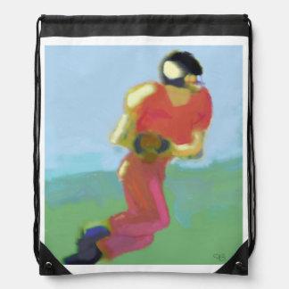 Football Player Art Drawstring Bag