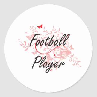 Football Player Artistic Job Design with Butterfli Round Sticker