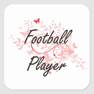 Football Player Artistic Job Design with Butterfli Square Sticker