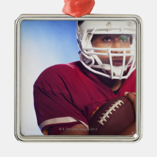 Football player carrying ball Silver-Colored square decoration