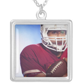 Football player carrying ball silver plated necklace