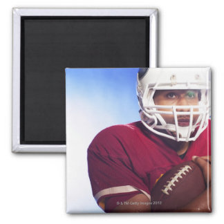 Football player carrying ball square magnet