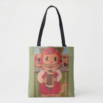 Football Player Cat Folk Art Tote Bag