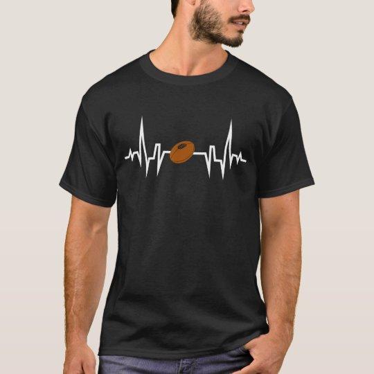 Football Player Heartbeat EKG T-Shirt