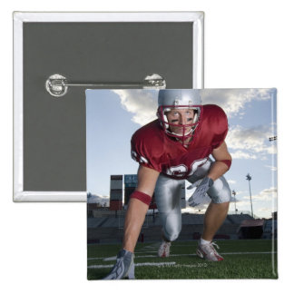 Football player in game stance 15 cm square badge