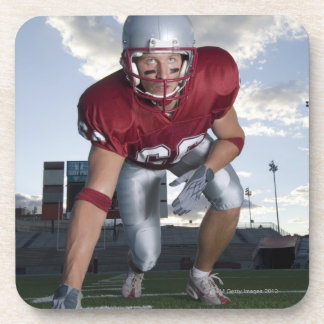 Football player in game stance coaster