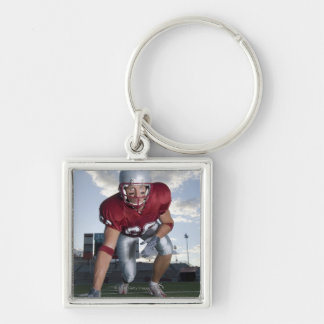 Football player in game stance key ring