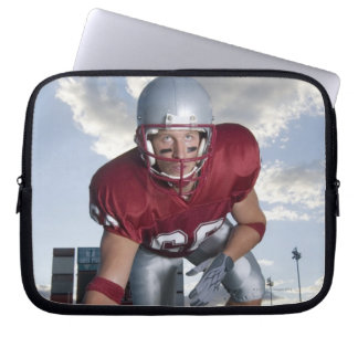 Football player in game stance laptop sleeve